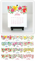 Flower & Vine - Watercolor Floral 2020 Desk Calendar & Easel