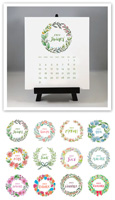 Flower & Vine - Watercolor Wreaths 2021 Desk Calendar & Easel