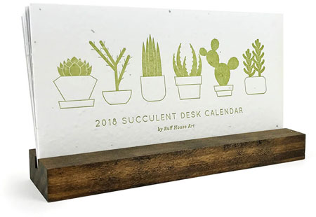 2018 Desktop Calendars (Wildflower Seeded Plantable Letterpress)