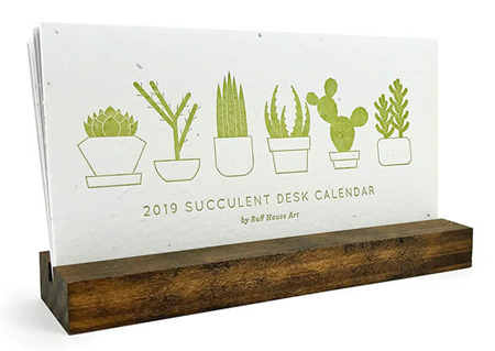 2019 Desktop Calendars (Succulent Wildflower Seeded Plantable Letterpress)