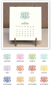 Stacy Claire Boyd - Monogrammed Desk Calendar & Easel (CCS123)