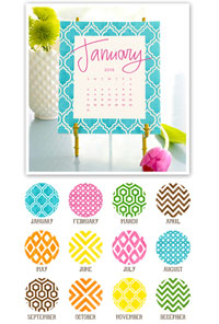Stacy Claire Boyd - Painted Pattern Desk Calendar & Easel 2017