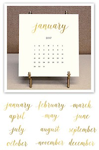 Stacy Claire Boyd - Solid Cream Foil Pressed Desk Calendar & Easel 2017
