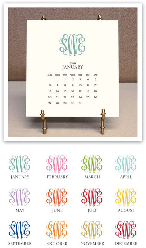 February Monogram Calendar 2019 Stacy Claire Boyd   Monogrammed Desk Calendar & Easel 2019: More