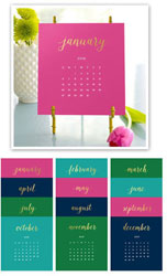 Stacy Claire Boyd - Bright Colors Foil Pressed Desk Calendar & Easel 2019