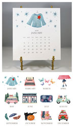 Stacy Claire Boyd - Hand-sparkled 2019 Desk Calendar & Easel
