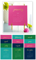 Stacy Claire Boyd - Bright Colors Foil Pressed Desk Calendar & Easel 2020