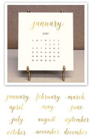 Stacy Claire Boyd - Solid Cream Foil Pressed Desk Calendar & Easel 2020