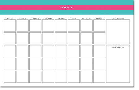 Whitney English Chore Charts - Rugby Pink & Teal (WChore16)