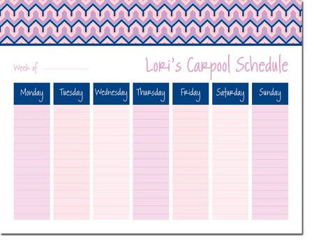 iDesign Weekly Calendar Pads - Bargello Pink (ID_WEEKLYPAD_18_PINK)