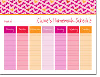 iDesign Weekly Calendar Pads - Hearts Pink