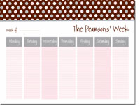 iDesign Weekly Calendar Pads - Polka Dots Chocolate