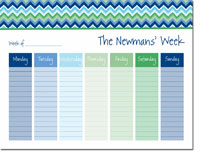 iDesign Weekly Calendar Pads - Chevron Blue (ID_WEEKLYPAD_14_BLUE)