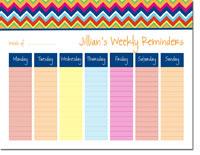 iDesign Weekly Calendar Pads - Chevron Rain (ID_WEEKLYPAD_14_RAIN)