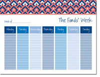 iDesign Weekly Calendar Pads - Diamonds Coral