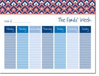 iDesign Weekly Calendar Pads - Diamonds Coral (ID_WEEKLYPAD_17_CORAL)