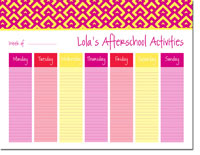iDesign Weekly Calendar Pads - Diamonds Pink (ID_WEEKLYPAD_17_PINK)