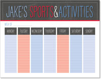 iDesign Weekly Calendar Pads - Sports & Activities (Boy)