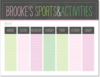 iDesign Weekly Calendar Pads - Sports & Activities (Girl)