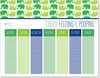 iDesign Weekly Calendar Pads - Feeding & Poopoing (Boy)