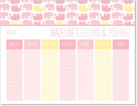 iDesign Weekly Calendar Pads - Feeding & Poopoing (Girl)