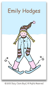 Stacy Claire Boyd Calling Cards - Small Ski Bunny