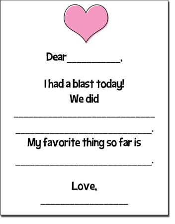 Camp Fill-In Cards - Pink Heart