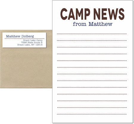 3 Bees - Camp Notepad Sets (Camp News Brown and Blue)