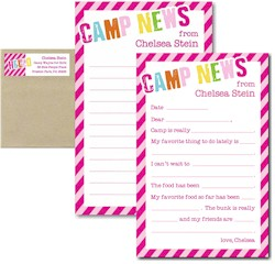 3 Bees - Camp Notepad Sets (Diagonal Stripe Camp Girl)
