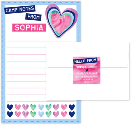 Camp Notepad & Label Sets by Three Bees (Camp Notes Watercolor Hearts)