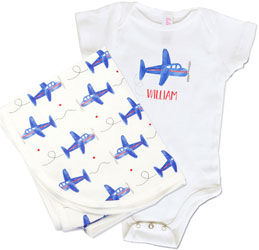 Infant Creepers & Blankets by Kelly Hughes Designs (Airplane)
