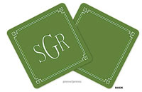 PicMe Prints - Personalized Coasters (Classic Border Green)