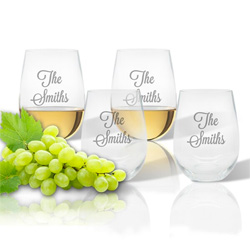 Personalized Tritan Stemless Wine Tumblers - Set of 4