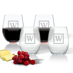 Personalized Wine Glass Stemless Tumbler - Set of 4