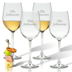 Personalized Wine Glass Stemware Name - Set of 4