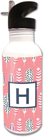 Clairebella Water Bottles - Feathers Coral