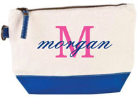 Donovan Designs - Embroidered Cosmetic Bags (Royal Blue Stripe)