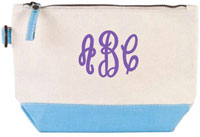 Donovan Designs - Embroidered Cosmetic Bags (Light Blue Stripe)
