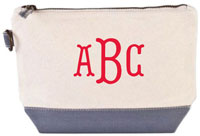 Donovan Designs - Embroidered Cosmetic Bags (Gray Stripe)