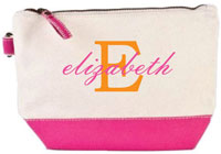 Donovan Designs - Embroidered Cosmetic Bags (Pink Stripe)