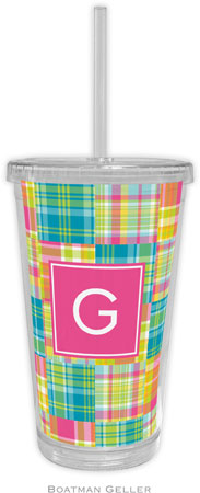 Boatman Geller - Personalized Beverage Tumblers (Madras Patch Bright Preset)