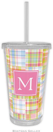 Boatman Geller - Personalized Beverage Tumblers (Madras Patch Pink Preset)