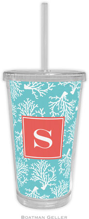 Boatman Geller - Personalized Beverage Tumblers (Coral Repeat Teal Preset)