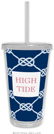 Boatman Geller - Personalized Beverage Tumblers (Nautical Knot Navy)