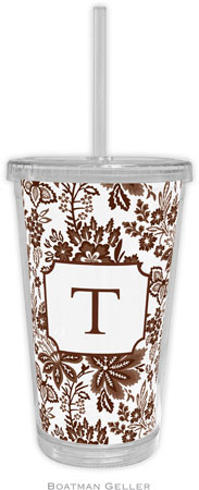 Boatman Geller - Personalized Beverage Tumblers (Classic Floral Brown)