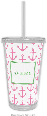 Boatman Geller - Personalized Beverage Tumblers (Anchors Pink)