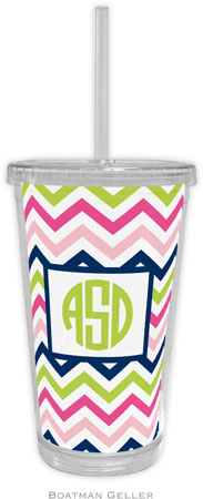 Boatman Geller - Personalized Beverage Tumblers (Chevron Pink Navy & Lime)