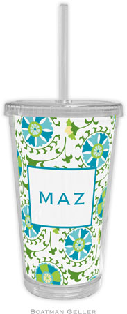 Boatman Geller - Personalized Beverage Tumblers (Suzani Teal)