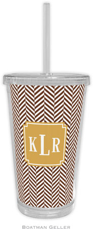 Boatman Geller - Personalized Beverage Tumblers (Herringbone Chocolate Preset)
