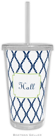 Boatman Geller - Personalized Beverage Tumblers (Bamboo Navy & Green)